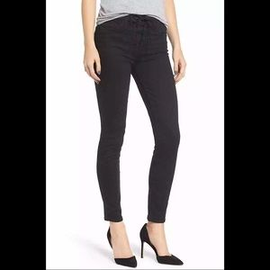 Mother High Wasited Lace Up Looker Black Jeans